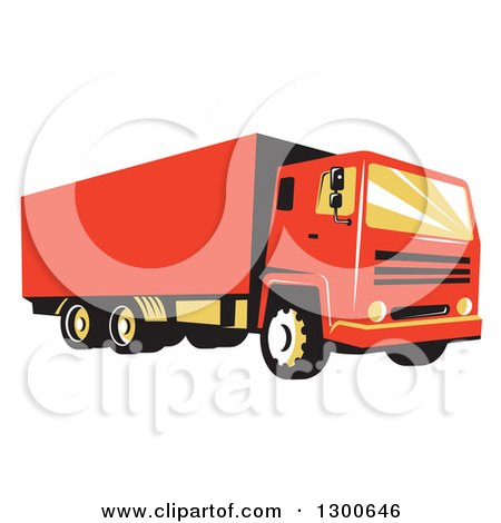 Clipart of a Retro Red Closed Delivery Van or Big Rig Truck - Royalty Free Vector Illustration by patrimonio