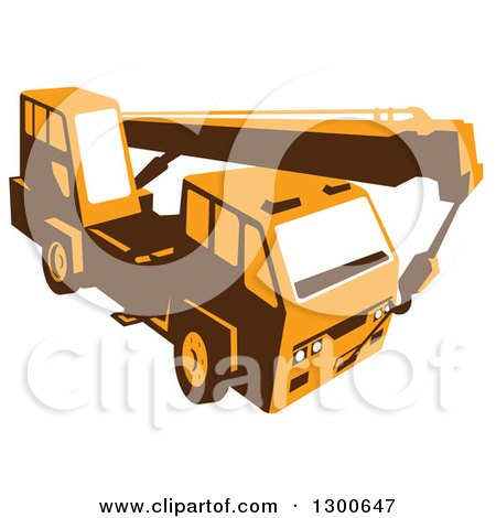 Clipart of a Retro Yellow Truck Mounted Hydraulic Crane Cartage with Hydraulic Boom Hoist - Royalty Free Vector Illustration by patrimonio