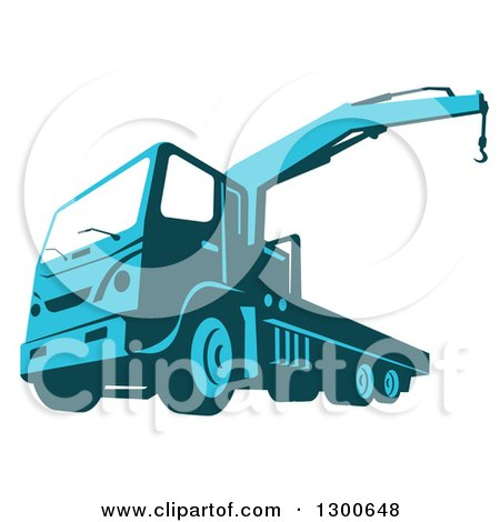 Clipart of a Retro Blue Ruck Mounted Hydraulic Crane Cartage Hoist - Royalty Free Vector Illustration by patrimonio