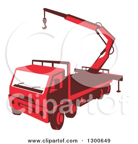 Clipart of a Retro Red Truck Mounted Hydraulic Crane Cartage with Hydraulic Boom Hoist - Royalty Free Vector Illustration by patrimonio