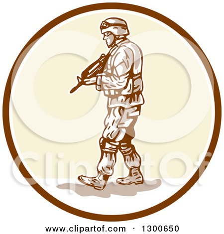 Clipart of a Cartoon American Soldier with an Armalite Rifle in a Circle - Royalty Free Vector Illustration by patrimonio