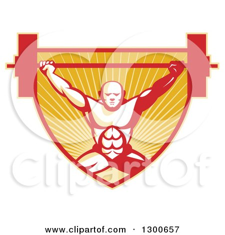 Clipart of a Retro Bald Male Bodybuilder Squatting and Lifting a Barbell over a Red and Orange Shield of Rays - Royalty Free Vector Illustration by patrimonio