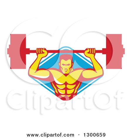 Clipart of a Retro Male Bodybuilder Lifting a Barbell and Emerging from a Blue and White Diamond - Royalty Free Vector Illustration by patrimonio