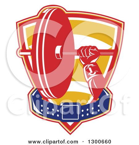 Clipart of a Retro Male Bodybuilder's Hand Holding a Barbell with a Belt in a Shield - Royalty Free Vector Illustration by patrimonio