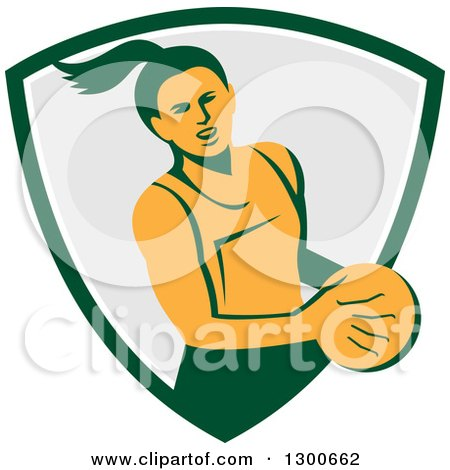 Clipart of a Retro Female Netball Player Emerging from a Green White and Gray Shield - Royalty Free Vector Illustration by patrimonio