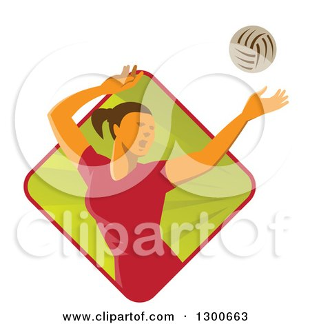Clipart of a Retro White Female Volleyball Player Spiking over a Green and Red Ray Diamond - Royalty Free Vector Illustration by patrimonio