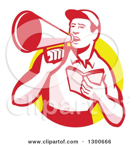 Clipart of a Retro Male Worker Holding a Book and Using a Bullhorn in a Yellow Circle - Royalty Free Vector Illustration by patrimonio