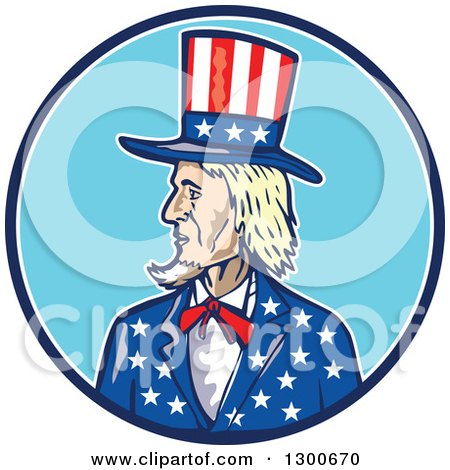 Clipart of a Cartoon Patriotic American Uncle Sam in a Blue and White Circle - Royalty Free Vector Illustration by patrimonio