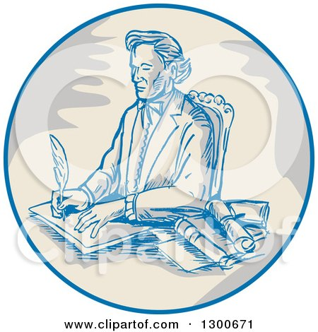Clipart of a Sketched Victorian Man Signing Documents in a Circle - Royalty Free Vector Illustration by patrimonio