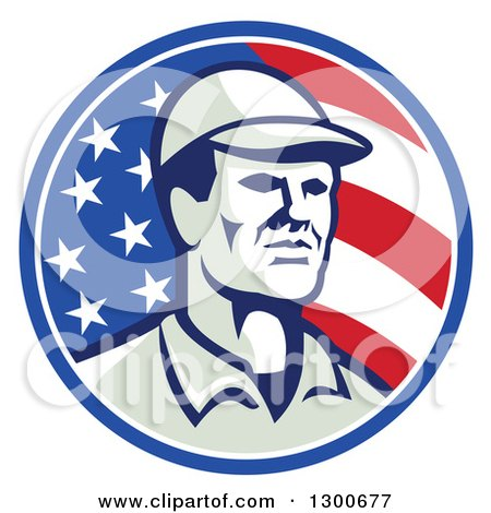 Clipart of a Retro American Worker Wearing a Cap in an American Flag Circle - Royalty Free Vector Illustration by patrimonio