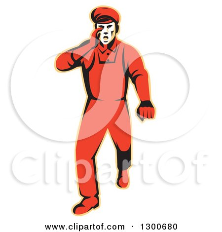 Clipart of a Retro Male Worker Protesting, Walking and Hollering - Royalty Free Vector Illustration by patrimonio