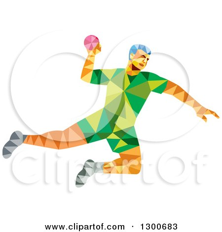 Clipart of a Retro Low Poly Geometric Male Handball Player Jumping - Royalty Free Vector Illustration by patrimonio