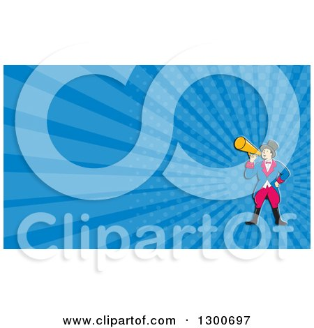Clipart of a Retro Cartoon White Male Circus Ringmaster Announcing with a Bullhorn and Blue Rays Background or Business Card Design - Royalty Free Illustration by patrimonio