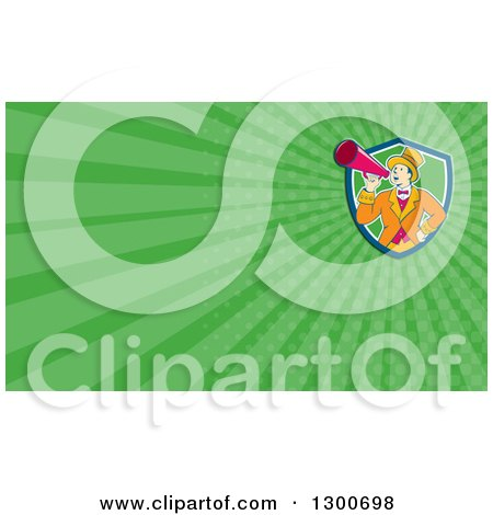 Clipart of a Retro Cartoon White Male Circus Ringmaster Announcing Through a Bullhorn and Green Rays Background or Business Card Design - Royalty Free Illustration by patrimonio