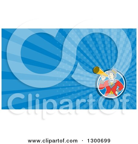 Clipart of a Retro Cartoon White Male Circus Ringmaster Announcing Through a Bullhorn and Blue Rays Background or Business Card Design - Royalty Free Illustration by patrimonio