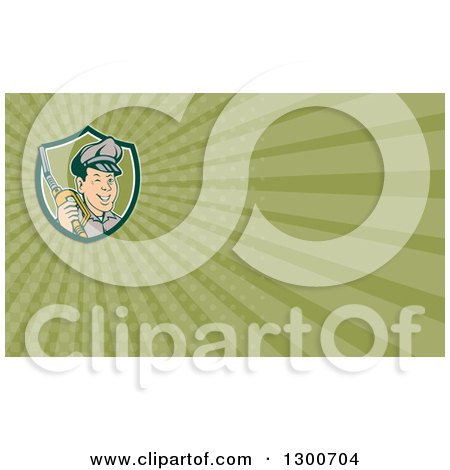 Clipart of a Retro Gas Station Attendant Jockey Holding a Nozzle and Green Rays Background or Business Card Design - Royalty Free Illustration by patrimonio