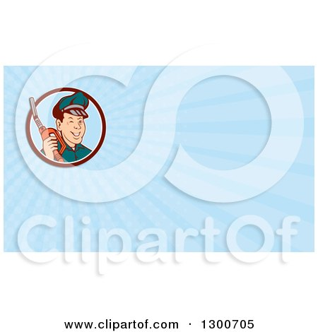 Clipart of a Retro Gas Station Attendant Jockey Holding a Nozzle and Light Blue Rays Background or Business Card Design - Royalty Free Illustration by patrimonio
