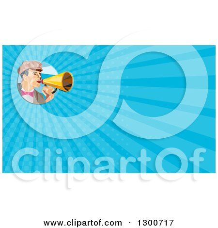 Clipart of a Retro Low Poly Director Using a Megaphone and Blue Rays Background or Business Card Design - Royalty Free Illustration by patrimonio