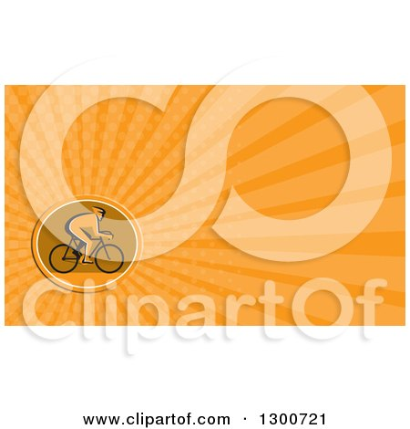 Clipart of a Retro Silhouetted Cyclist in Profile and Orange Rays Background or Business Card Design - Royalty Free Illustration by patrimonio
