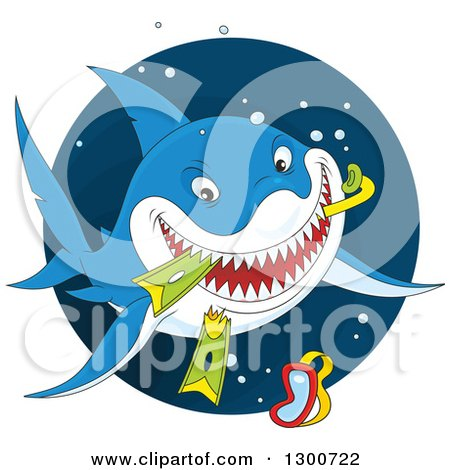 Clipart of a Blue Shark Eating Snorkel Gear in a Circle - Royalty Free Vector Illustration by Alex Bannykh