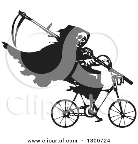Clipart of a Black and White Woodcut Grim Reaper Riding a Bicycle with a Scythe - Royalty Free Vector Illustration by xunantunich