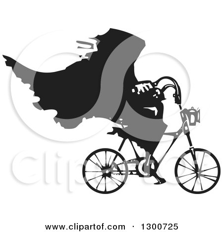 Clipart of a Black and White Woodcut Grim Reaper Riding a Bicycle - Royalty Free Vector Illustration by xunantunich
