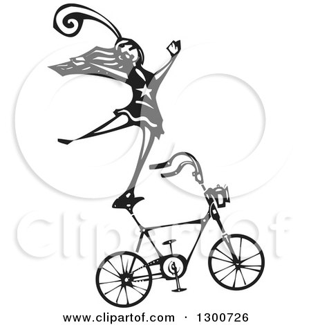 Clipart of a Black and White Woodcut Circus Act Woman Balancing on a Bicycle - Royalty Free Vector Illustration by xunantunich