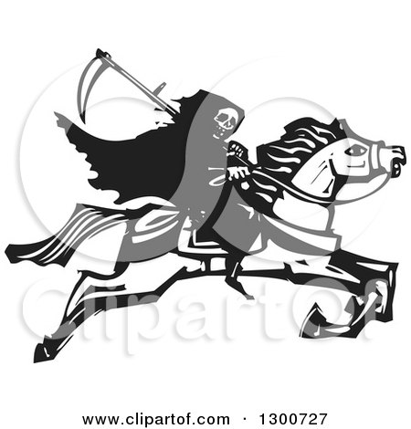 Clipart of a Black and White Woodcut Grim Reaper Riding Horseback - Royalty Free Vector Illustration by xunantunich