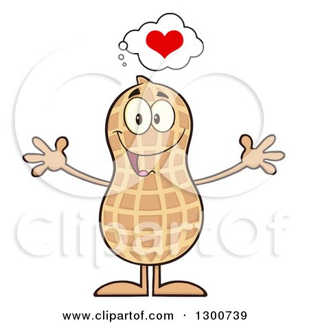 Clipart of a Happy Peanut Mascot Character Thinking About Love and Wanting a Hug - Royalty Free Vector Illustration by Hit Toon