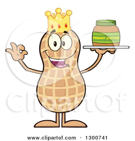 Clipart of a Happy King Peanut Mascot Character Gesturing Ok and Holding a Jar of Butter - Royalty Free Vector Illustration by Hit Toon