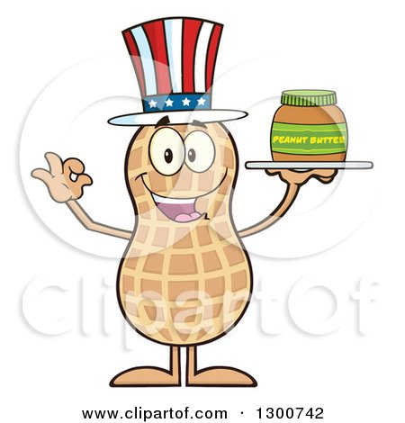 Clipart of a Happy American Peanut Mascot Character Gesturing Ok and Holding a Jar of Butter - Royalty Free Vector Illustration by Hit Toon