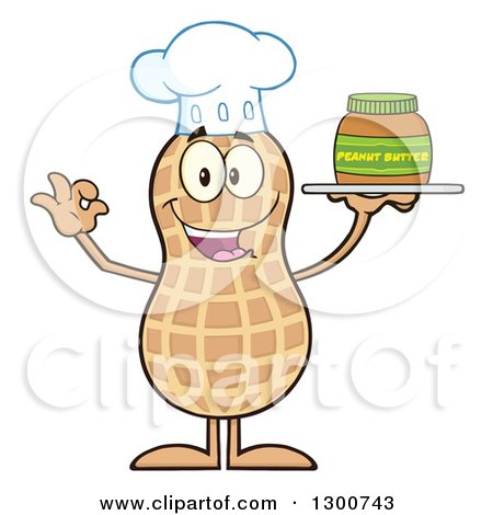 Clipart of a Happy Chef Peanut Mascot Character Gesturing Ok and Holding a Jar of Butter - Royalty Free Vector Illustration by Hit Toon