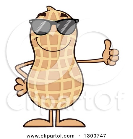 Clipart of a Happy Peanut Mascot Character Wearing Sunglasses and Giving a Thumb up - Royalty Free Vector Illustration by Hit Toon