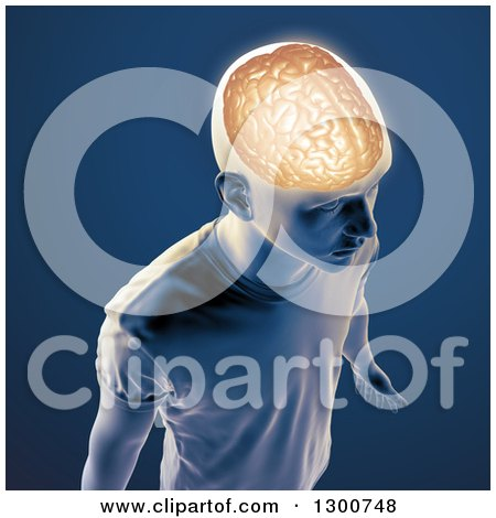 Clipart of a 3d Man with a Visible Brain, over Blue - Royalty Free Illustration by Mopic