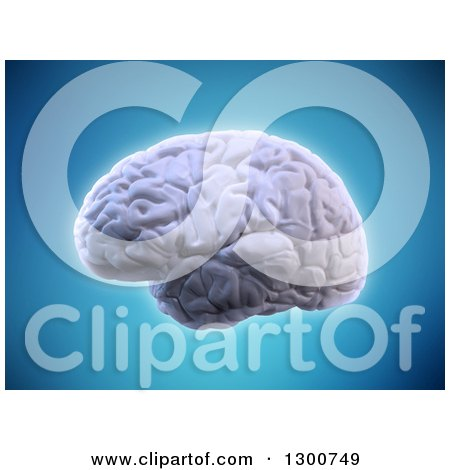Clipart of a 3d Glowing Human Brain over Blue - Royalty Free Illustration by Mopic