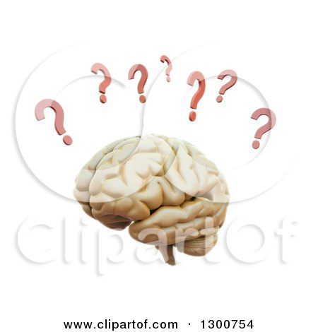 Clipart of a 3d Human Brain with Red Question Marks, on White - Royalty Free Illustration by Mopic