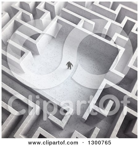 Clipart of a 3d Aerial View of a Lone Man in the Center of a Maze - Royalty Free Illustration by Mopic
