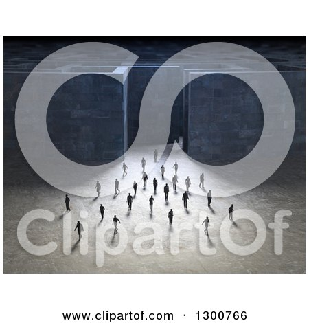 Clipart of a Crowd of 3d Men Walking Away from a Maze - Royalty Free Illustration by Mopic