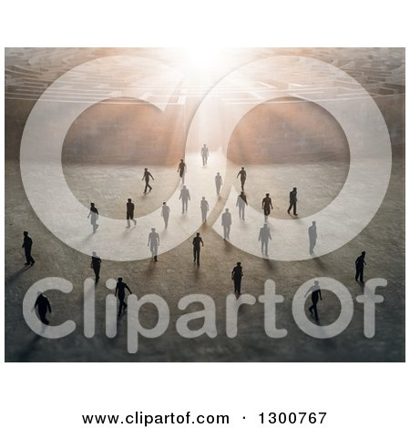 Clipart of a Crowd of 3d Men Walking Away from a Maze with Bright Light - Royalty Free Illustration by Mopic