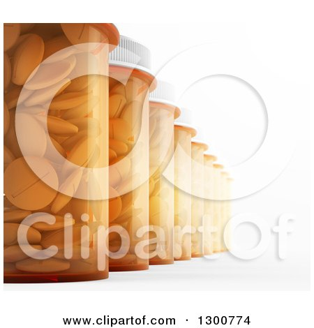 Clipart of a 3d Row of Pill Bottles on White - Royalty Free Illustration by Mopic