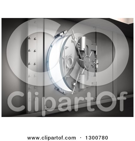 Clipart of a 3d Opening Bank Vault Safe with Bright Light - Royalty Free Illustration by Mopic