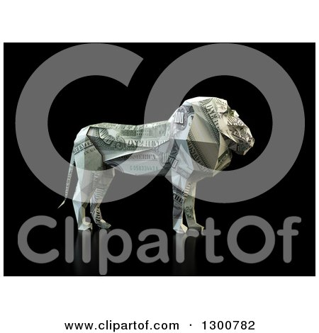 Clipart of a 3d Money One Hundred Dollar Bill Origami Lion on Black - Royalty Free Illustration by Mopic