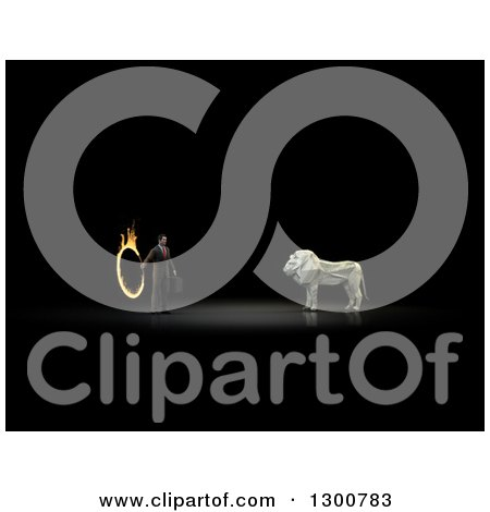 Clipart of a 3d Money One Hundred Dollar Bill Origami Lion and Businessman with a Flaming Hoop on Black - Royalty Free Illustration by Mopic