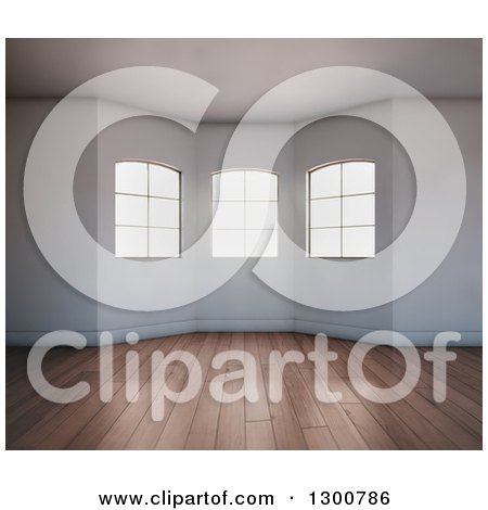 Clipart of a 3d Oriel Room Interior with Windows and Wood Floors - Royalty Free Illustration by Mopic