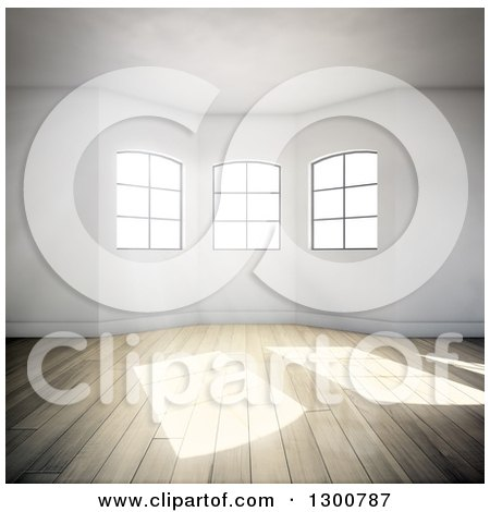 Clipart of a 3d Oriel Room Interior with Windows and Sunlight Shining on Wood Floors - Royalty Free Illustration by Mopic