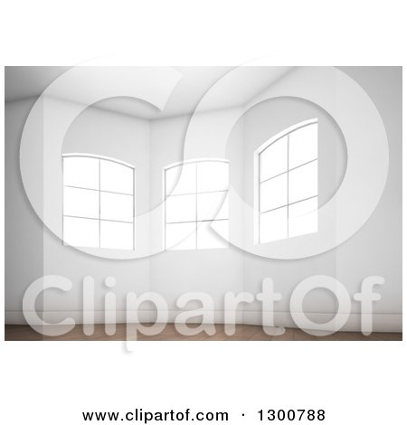 Clipart of a 3d Oriel Room Interior with Bright Windows and Wood Floors - Royalty Free Illustration by Mopic