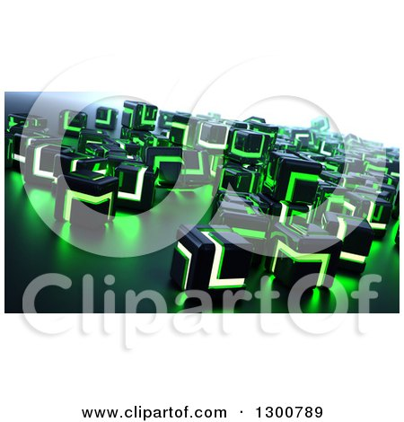 3d Black and Green Glowing Metallic Cubes Posters, Art Prints