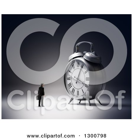 Clipart of a 3d Businessman Facing a Giant Alarm Clock - Royalty Free Illustration by Mopic