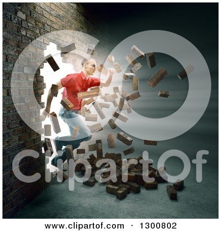 Clipart of a 3d White Man Breaking and Running Through a Brick Wall - Royalty Free Illustration by Mopic