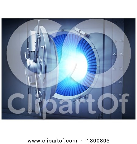 Clipart of a 3d Open Bank Vault Safe with a Binary Code Tunnel Inside - Royalty Free Illustration by Mopic